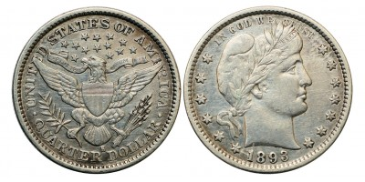 USA quarter dollar 1893 S
