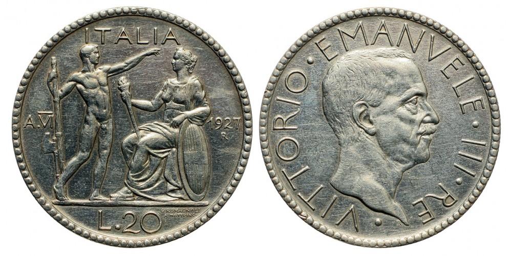 Olaszország Vittorio Emanuele 20 lira 1927