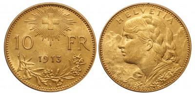 Svájc arany 10 frank 1913 B