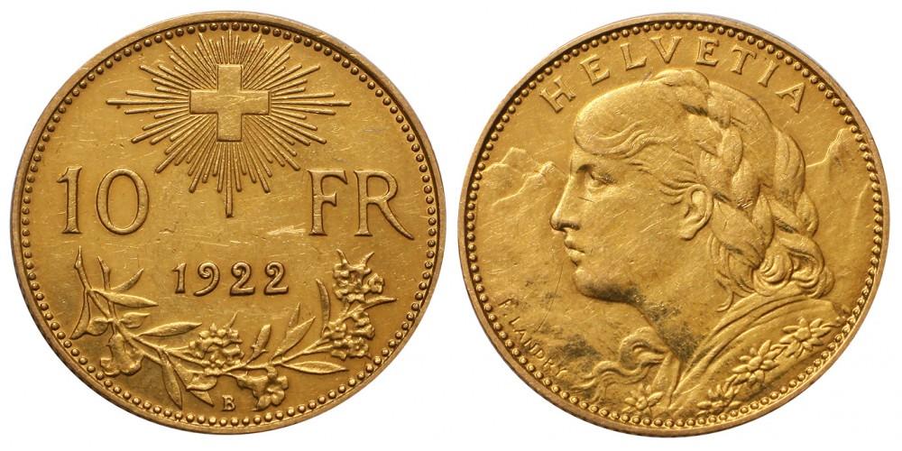 Svájc arany 10 frank 1922 B