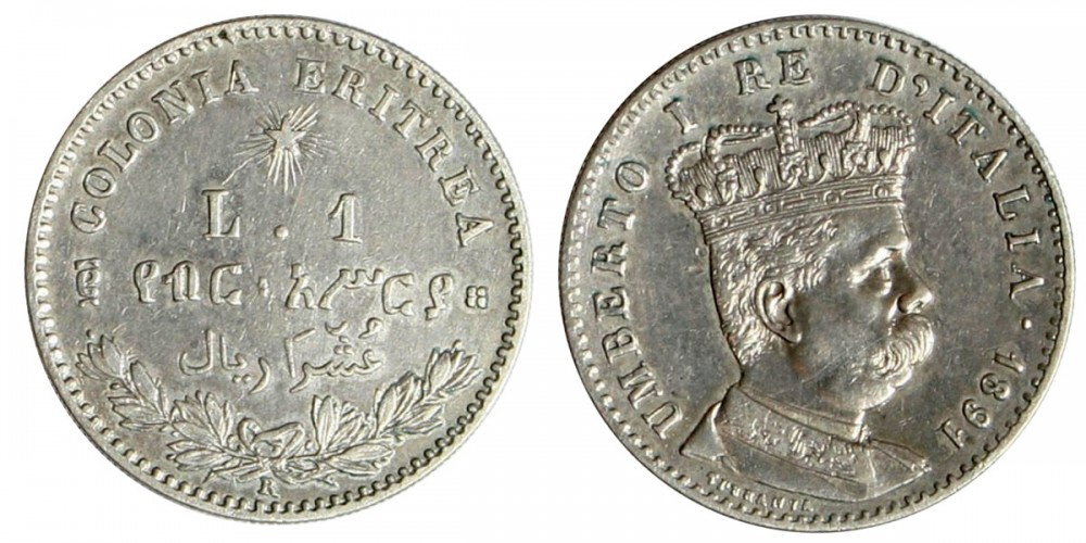 Eritrea Umberto 1 lira 1891 R!
