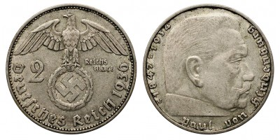 III.Birodalom 2 márka 1936 J