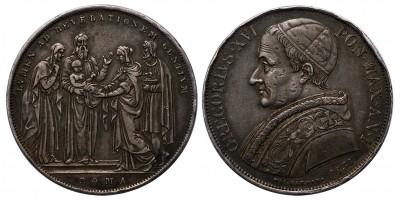 Vatikán XVI. Gergely scudo 1831 Róma