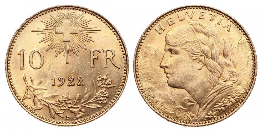 Svájc arany 10 Francs 1922 B