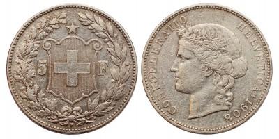 Svájc 5 frank 1908