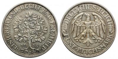 Weimari Köztársaság 5 mark 1928 J