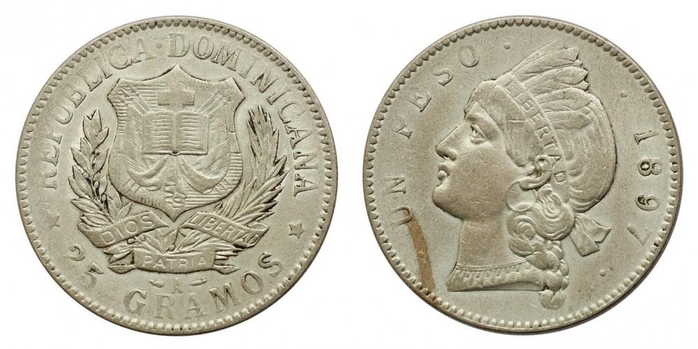Dominikai Köztársaság 1 peso 1897
