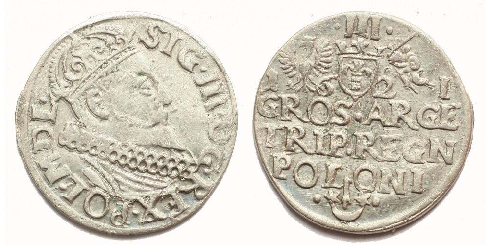 Lengyelország III. Zsigmond 3 garas 1621 Krakkó