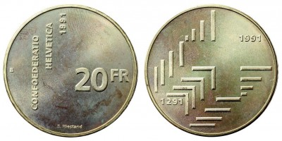 Svájc 20 frank 1991