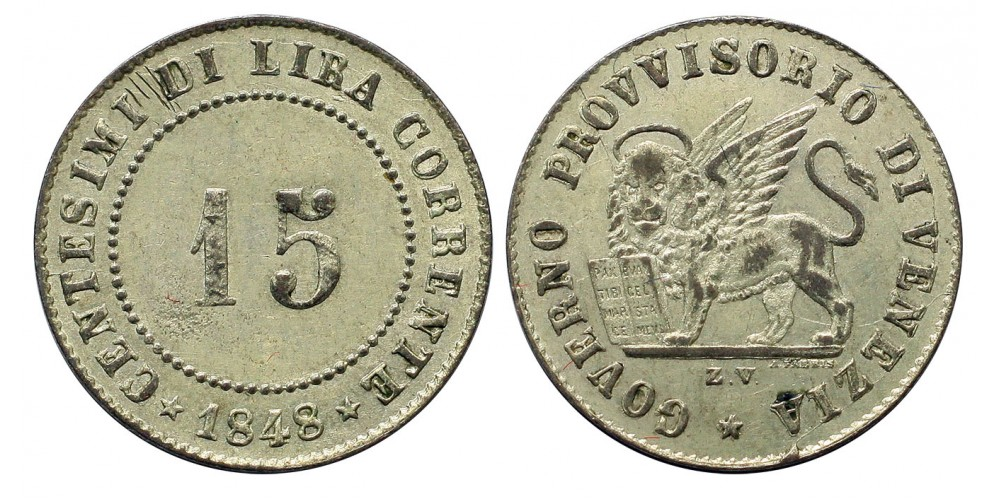 Velence 15 centesimi 1848 Z.V