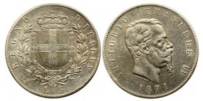 Olaszország Viktor Emanuel 5 lira 1871