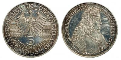 Németország 5 márka 1955 G Ludwig von Baden