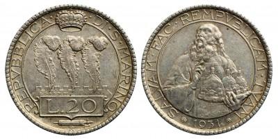 San Marino  20 lira 1931