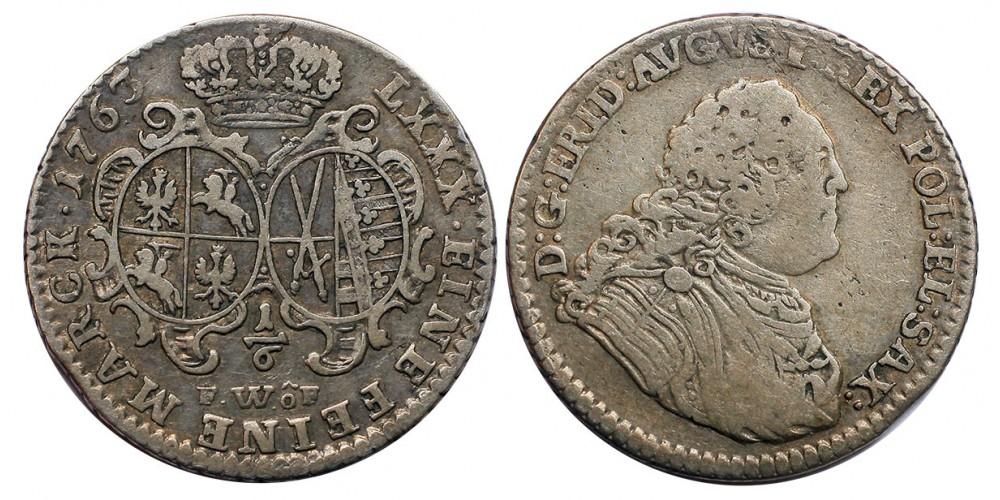 Lengyelország III. Ágost 1/6 tallér 1763