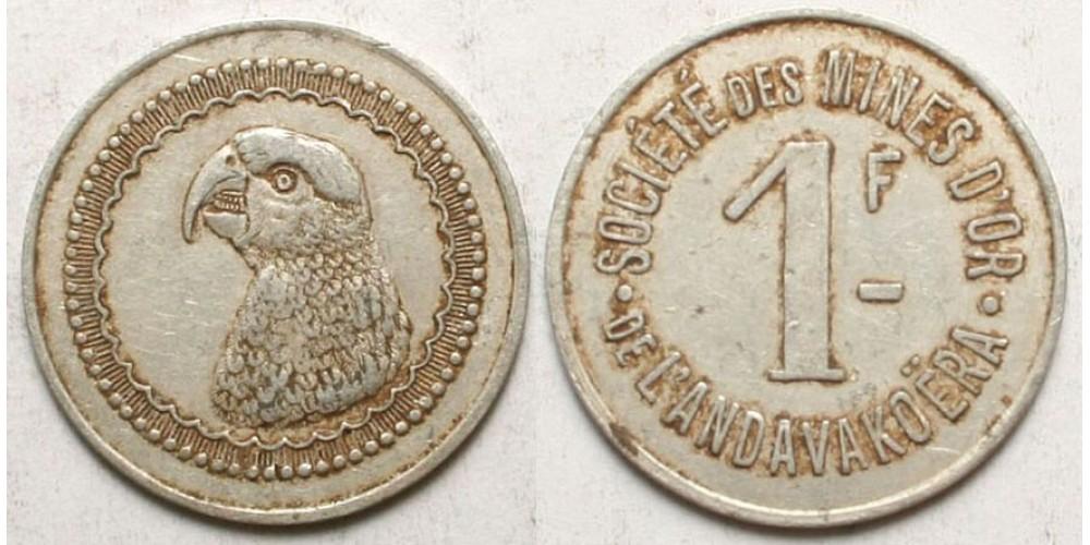 Madagaszkár arany bánya bárca 1 frank én. (1920) R!
