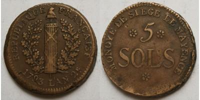 Franciaország Mayence (Mainz) ostroma 5 sols 1793