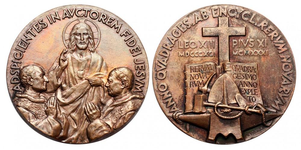 Vatikán XI. Pius Rerum Novarum Enciklika 40. évfordulója emlékérem 1931