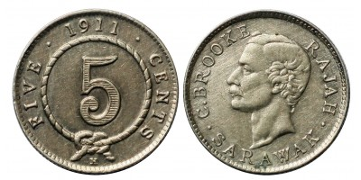Sarawak 5 cents 1911 R
