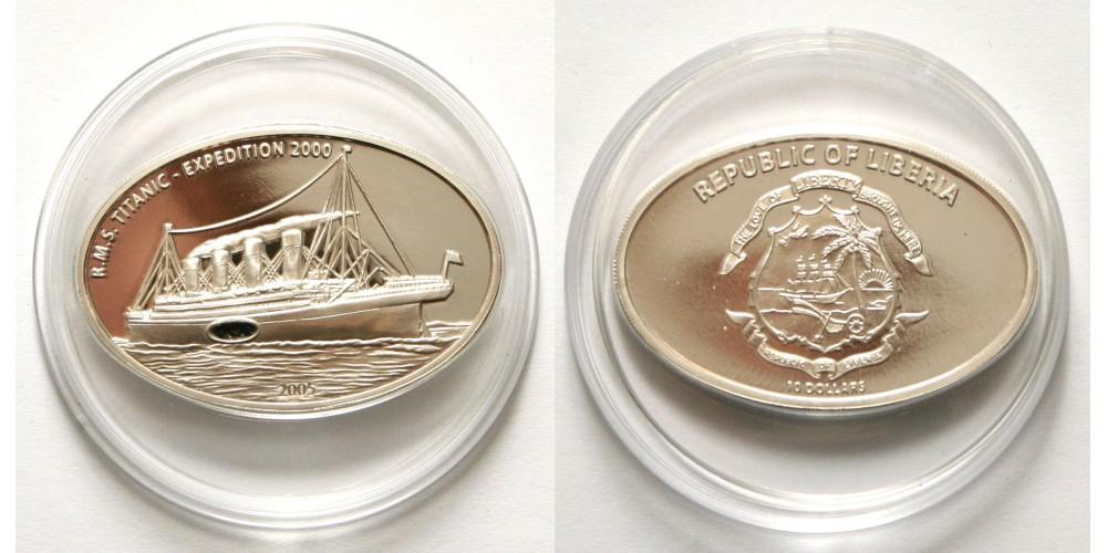 Libéria Titanic 10 dollár 2005 PP - eredeti széndarabbal
