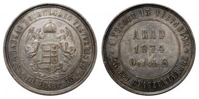 Aradi vértanúk halálának 25. évfordulójára ezüst érem 1874