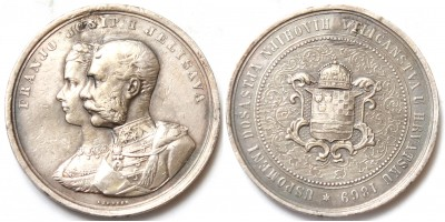 Ferenc József és Erzsébet horvátországi látogatása 1869 ezüst emlékérem R!