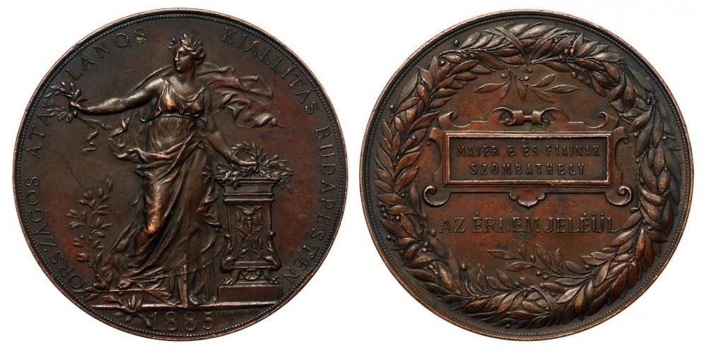 """Országos Általános Kiállítás Budapest 1885 díjérem """"Szombathely"""""""