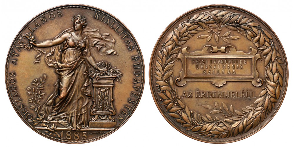 """Országos Általános Kiállítás Budapest 1885 díjérem """"Pécsi Papnövelde uradalmának"""""""