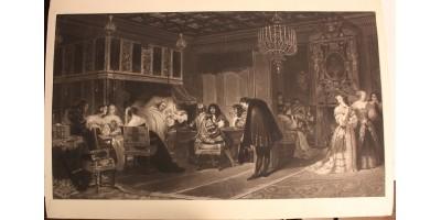 Paul Delaroche: Mazarin bíboros halála 1830 - metszet