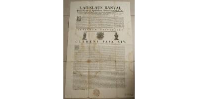 Bányai László esztergomi kanonok hivatalos hirdetménye az 1770-es szentévről 1769
