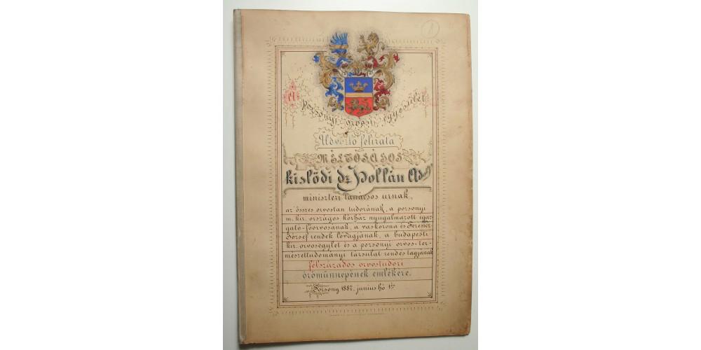 Díszoklevél Dr. Hollán Adolf miniszteri tanácsos 50 éves jubileumára Pozsony 1887