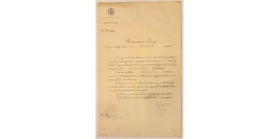 Document with signature of Ferenc Kossuth 1907