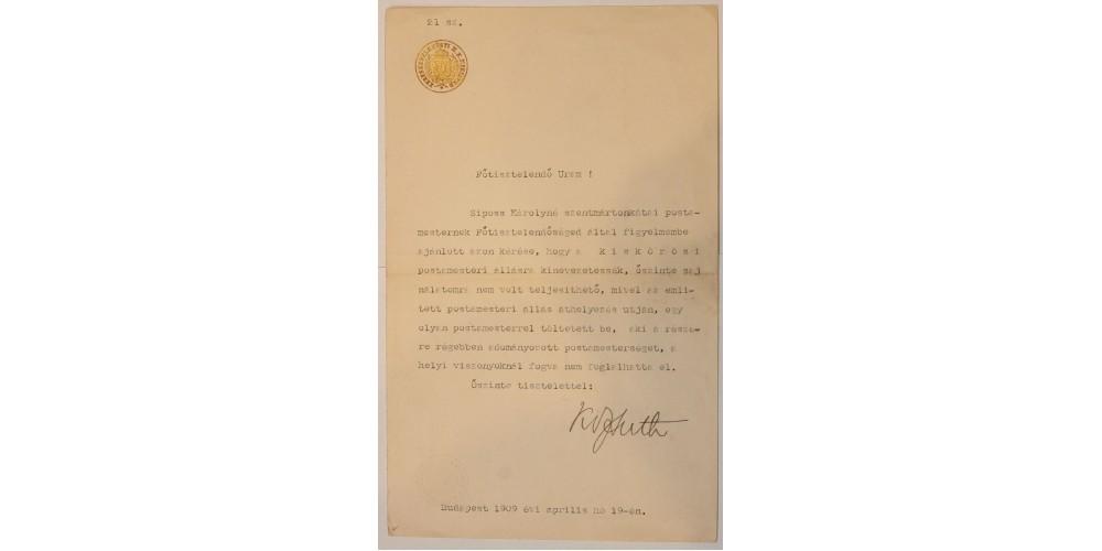 Okirat Kossuth Ferenc aláírásával 1909