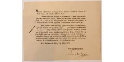 Okirat Szemere Bertalan aláírásával 1848