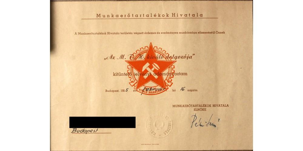 Munkaerő Tartalékok Hivatala Kiváló Dolgozója adományozó 1955