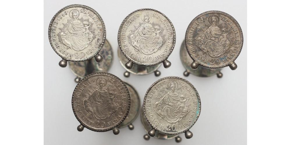 Patrióta evőeszköztartó bakok 1848-as 20 krajcárból 5 db