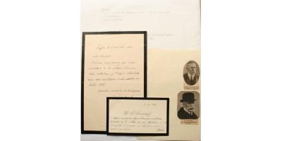 D. Toncsev bolgár pénzügyminiszter névjegye és levele aláírással 1928