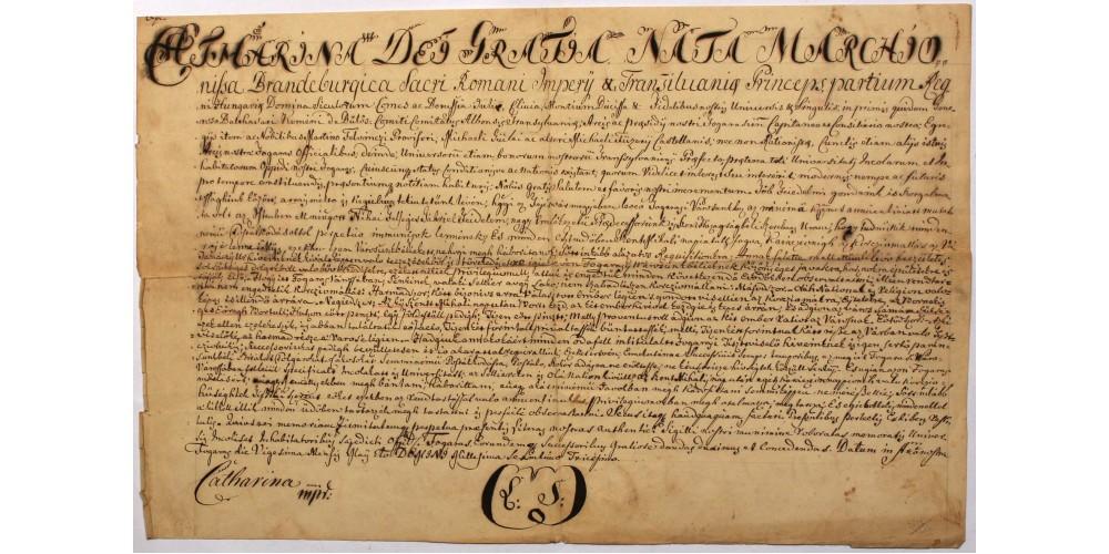 Erdély Brandenburgi Katalin fejedelemasszony oklevele 1630 hivatalos másolat