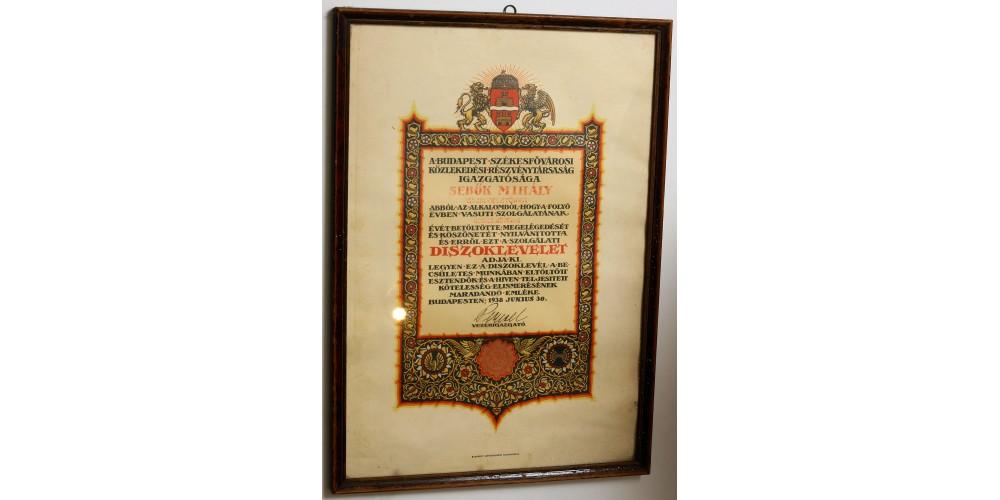 BSZKRT díszoklevél 25 éves munkaviszony alkalmából 1938