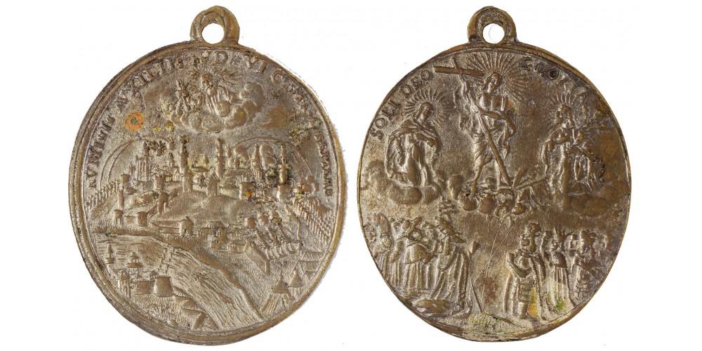 Buda visszafoglalása ezüstözött bronz vallási érem 1686 RR!