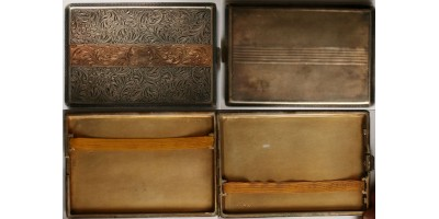 Art Deco ezüst cigaretta tárca arany betéttel