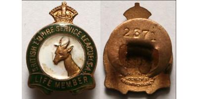 Dél-Afrika Brit Birodalom Veterán Szövetség jelvény, sorszámozott