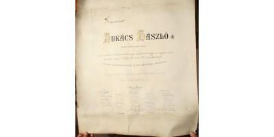 Díszoklevél Dr. Lukács László pénzügyminiszter 10 éves jubileumára Kolozsvár 1905
