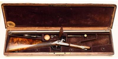 Magyar összeszerelhető puska díszdobozban. 19.sz(1860 körül)