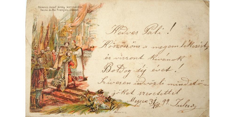 Ferenc József koronázása litho képeslap