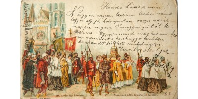 Szent István napi körmenet litho képeslap