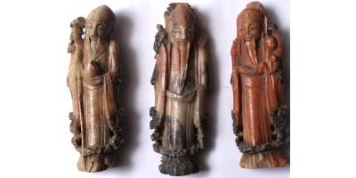 Kína három szerencseisten zsírkő szobor 1900 körül