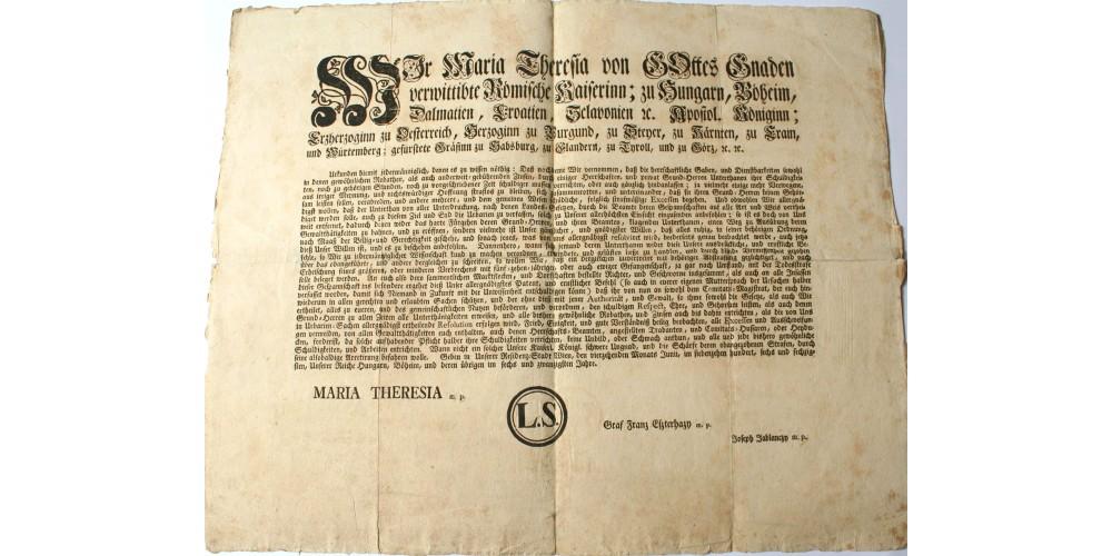 Mária Terézia Úrbéri pátens hirdetmény 1766