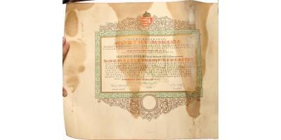 Nemzetvédelmi Kereszt adományozó oklevél 1943 R!