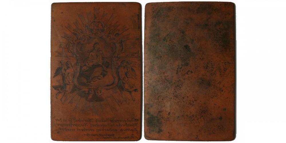 18. századi kisnyomtatvány réz nyomólemeze