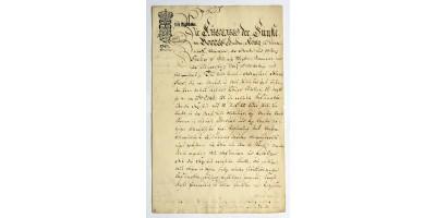 Okirat V. Frigyes dán király aláírásával 1747